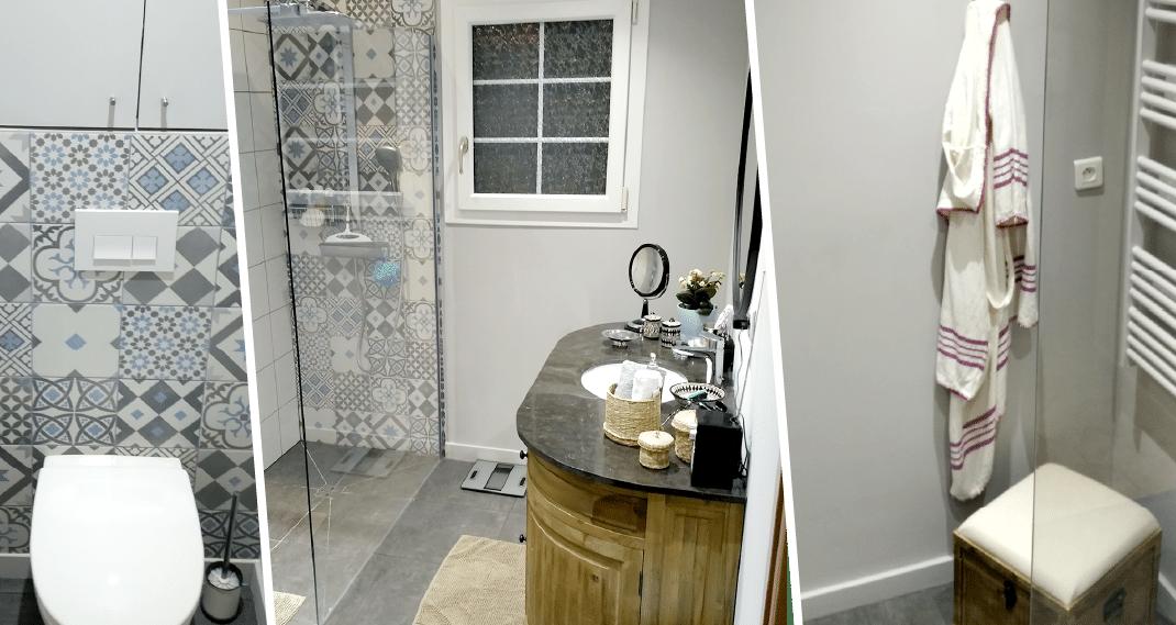 trois photos de la même salle de bain, vintage carreaux ciment et meuble en vieux bois.