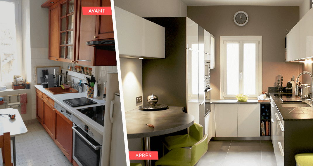 photo d'une cuisine avant et après le relooking