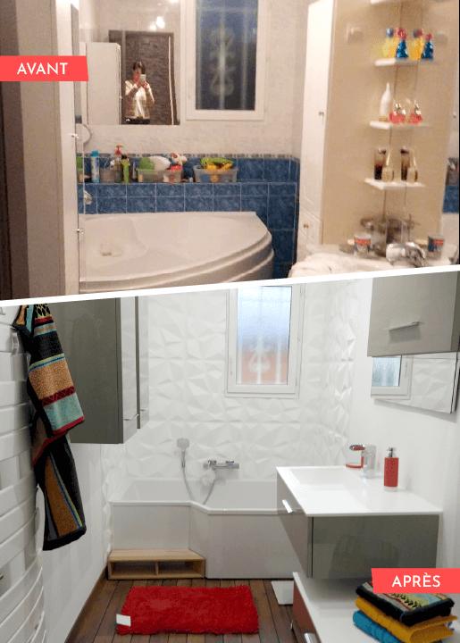 photo avant/après d'une salle de bain