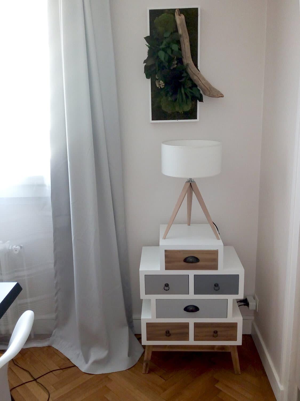 photo d'une petite commode style scandinave avec au dessus un tableau végétale