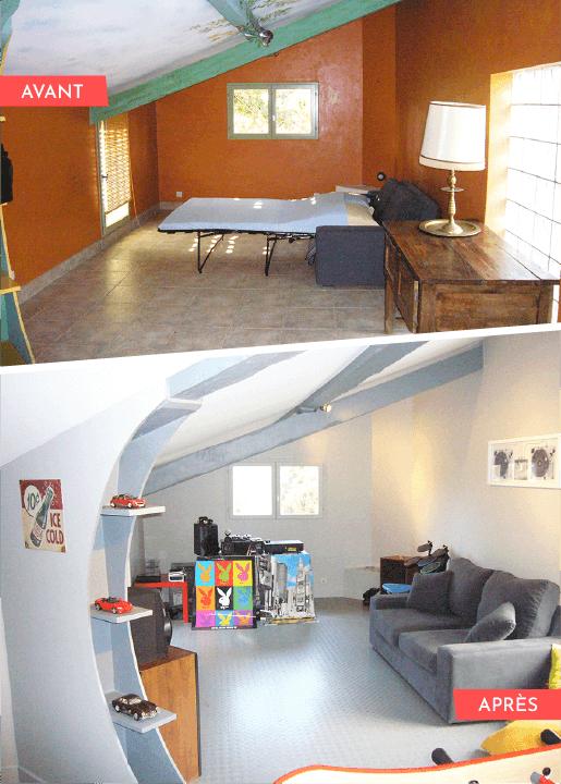 photo avant/après d'une pièce transformée en salle de jeux